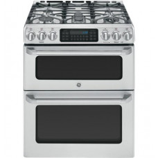 "GE Café™ Series 30"" Slide-In Front Control Gas Double Oven with Convection Range"